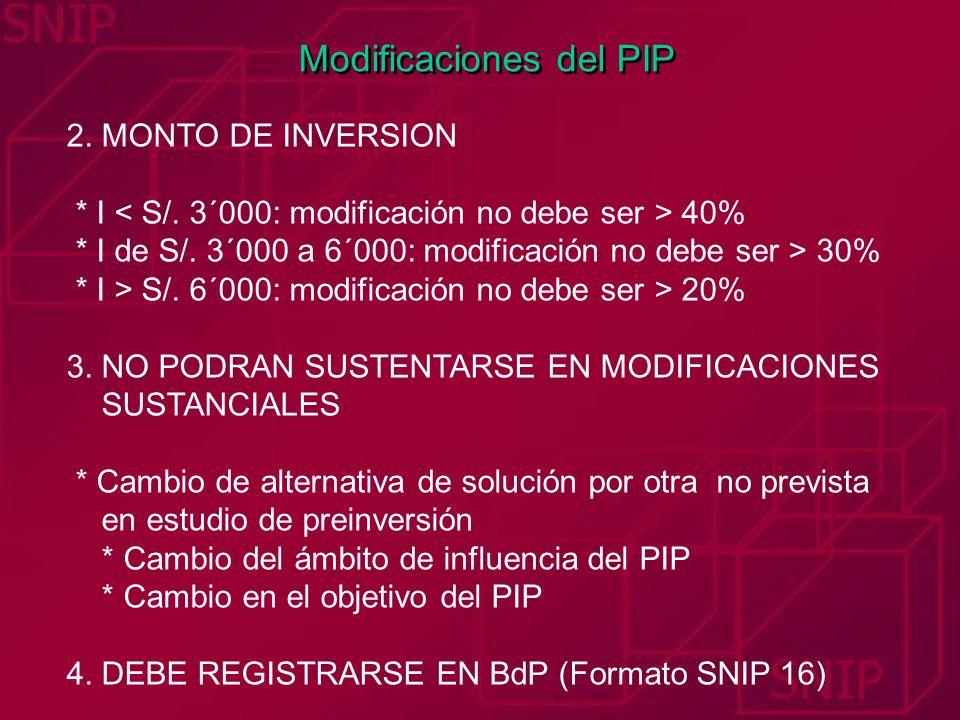 Modificaciones del PIP 2. MONTO DE INVERSION * I 40% * I de S/. 3´000 a 6´000: modificación no debe ser > 30% * I > S/. 6´000: modificación no debe se