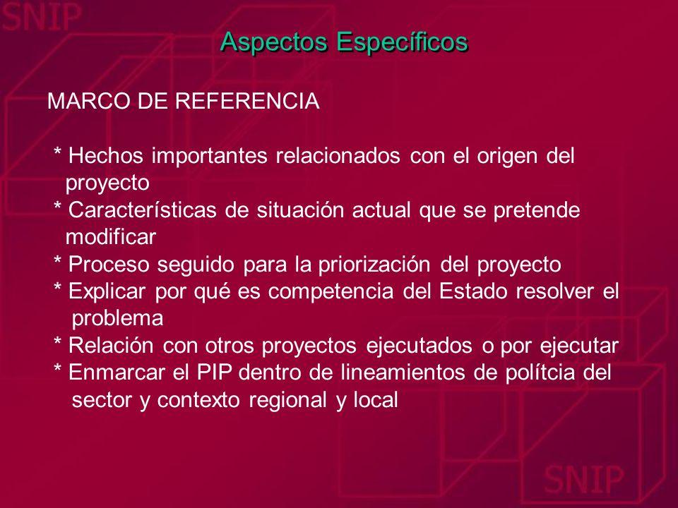 Aspectos Específicos MARCO DE REFERENCIA * Hechos importantes relacionados con el origen del proyecto * Características de situación actual que se pre