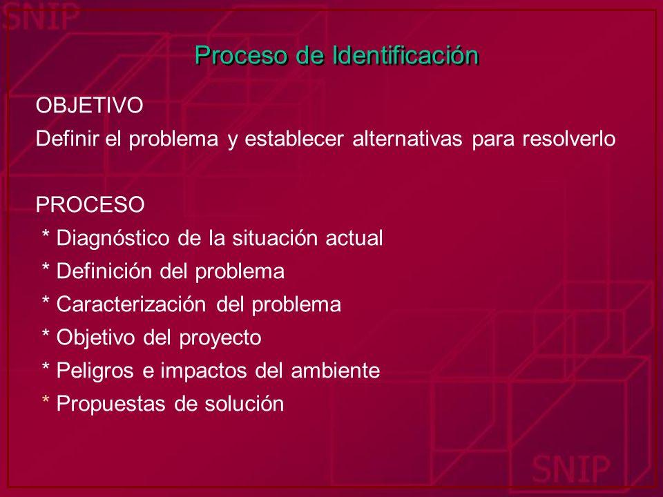 Proceso de Identificación OBJETIVO Definir el problema y establecer alternativas para resolverlo PROCESO * Diagnóstico de la situación actual * Defini