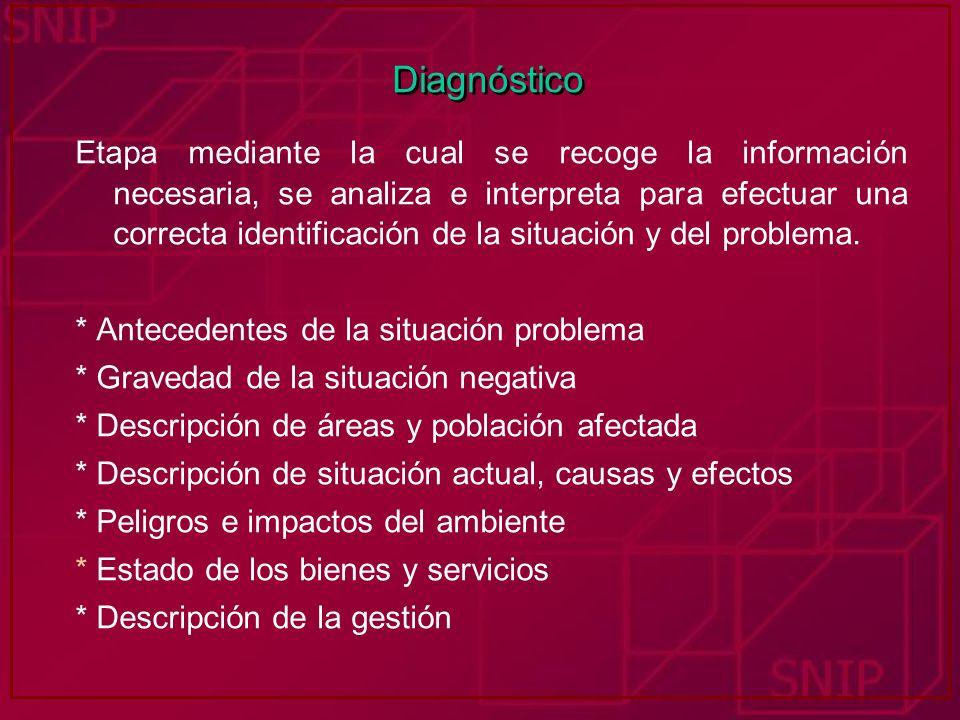 Diagnóstico Etapa mediante la cual se recoge la información necesaria, se analiza e interpreta para efectuar una correcta identificación de la situaci
