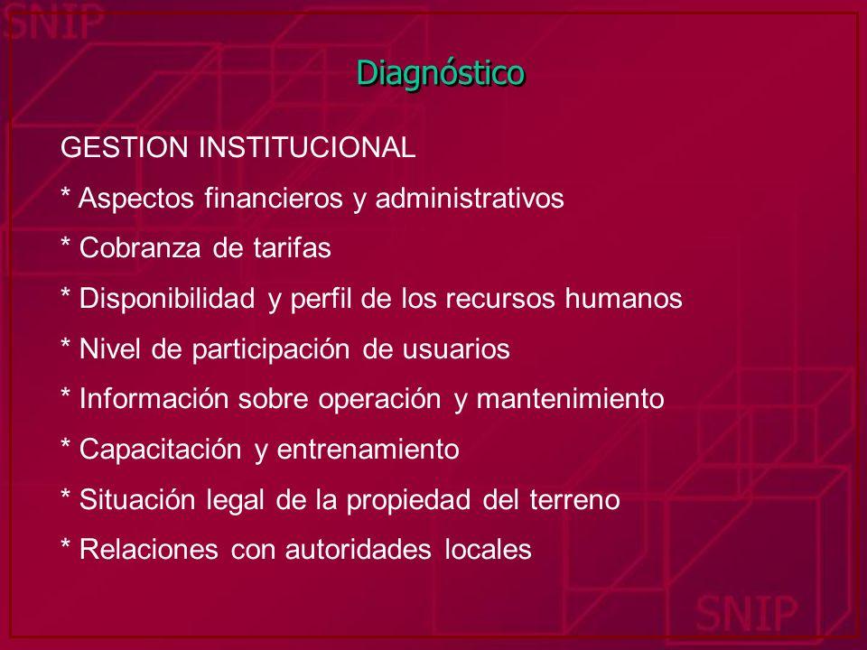 Diagnóstico GESTION INSTITUCIONAL * Aspectos financieros y administrativos * Cobranza de tarifas * Disponibilidad y perfil de los recursos humanos * N