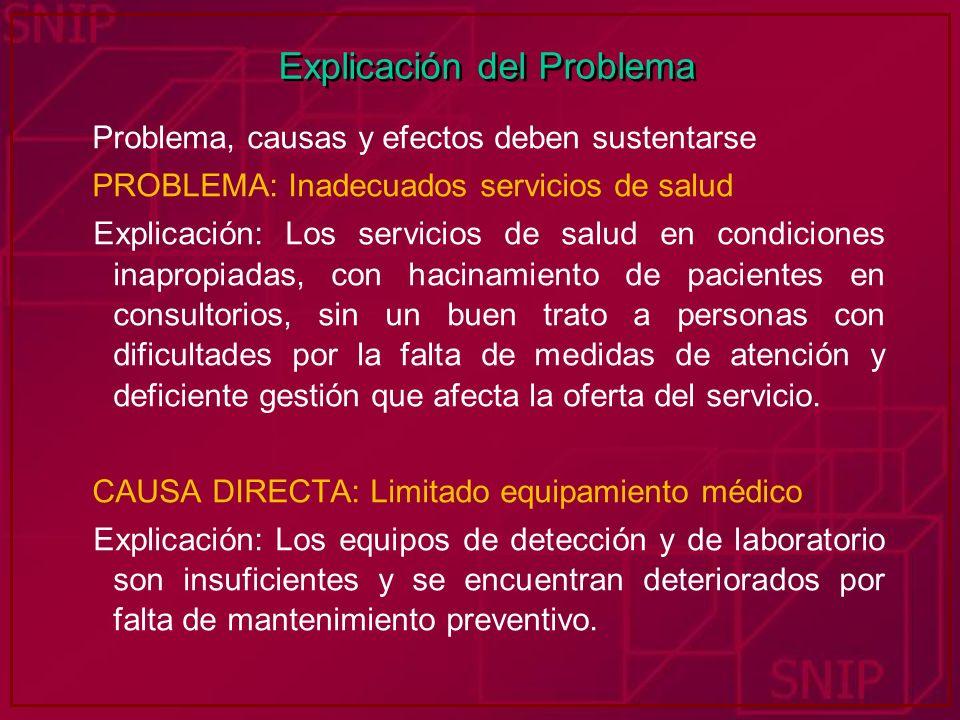 Explicación del Problema Problema, causas y efectos deben sustentarse PROBLEMA: Inadecuados servicios de salud Explicación: Los servicios de salud en