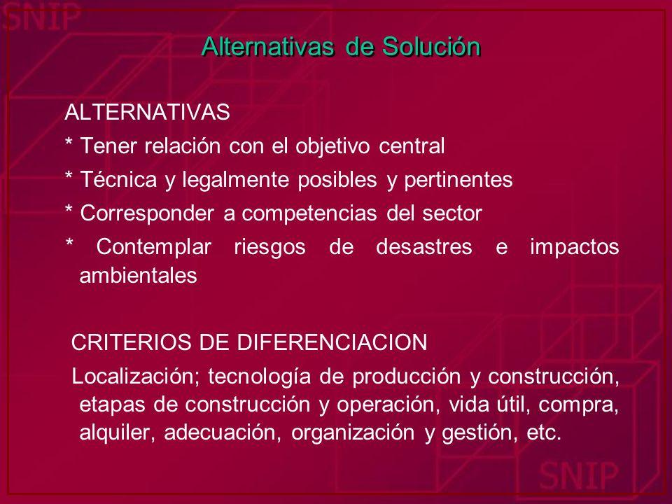 Alternativas de Solución ALTERNATIVAS * Tener relación con el objetivo central * Técnica y legalmente posibles y pertinentes * Corresponder a competen