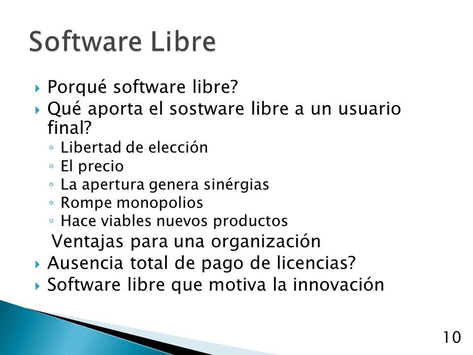 Porqué software libre? Qué aporta el sostware libre a un usuario final? Libertad de elección El precio La apertura genera sinérgias Rompe monopolios H