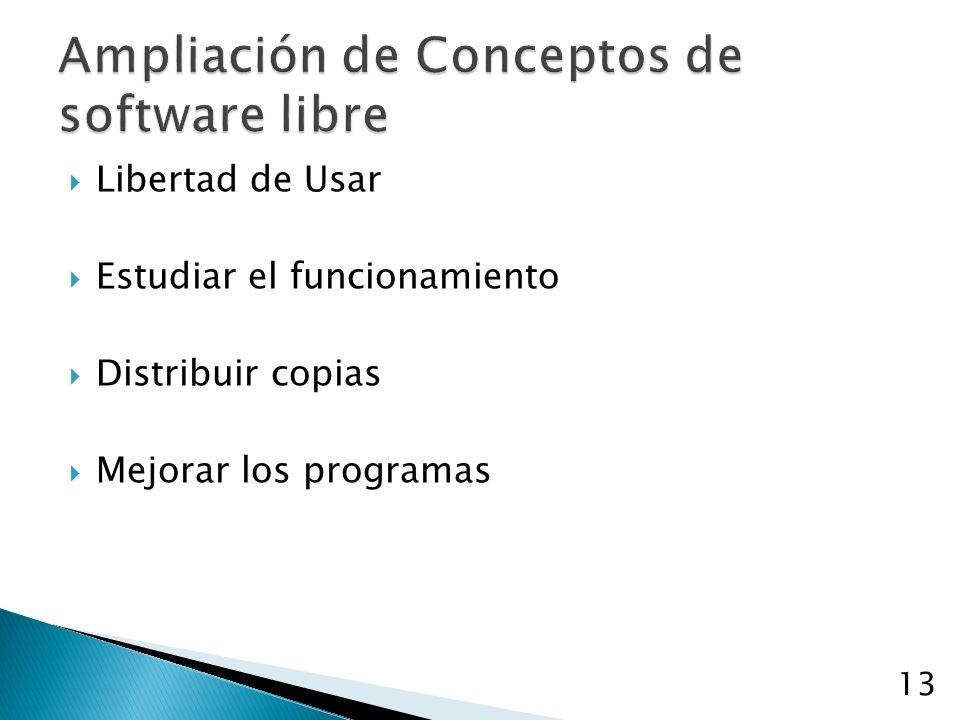 Libertad de Usar Estudiar el funcionamiento Distribuir copias Mejorar los programas 13