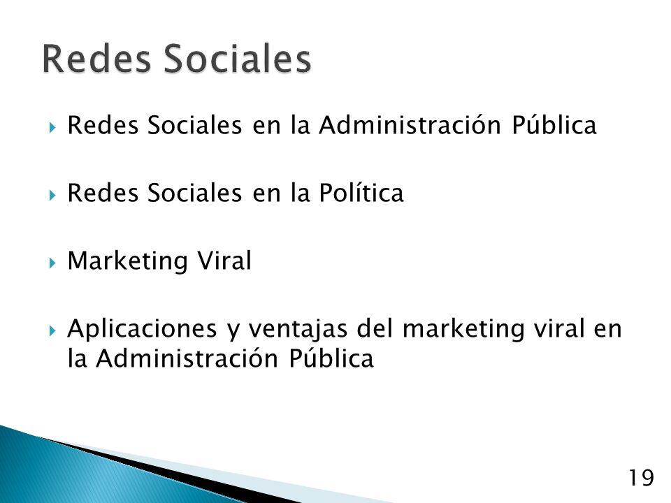 Redes Sociales en la Administración Pública Redes Sociales en la Política Marketing Viral Aplicaciones y ventajas del marketing viral en la Administración Pública 19