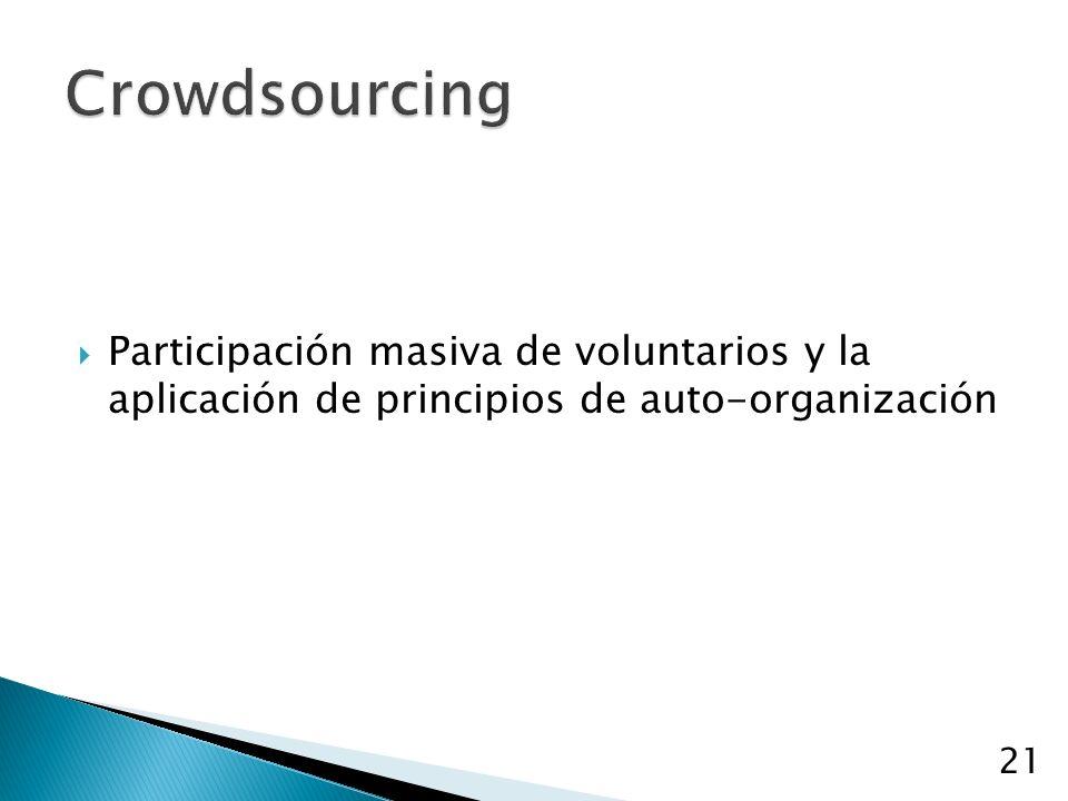 Participación masiva de voluntarios y la aplicación de principios de auto-organización 21
