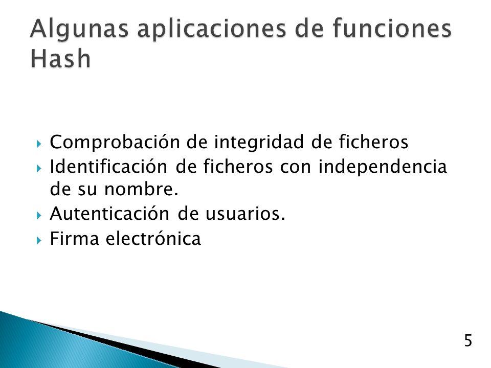Comprobación de integridad de ficheros Identificación de ficheros con independencia de su nombre.