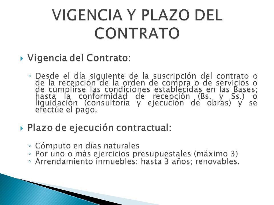 Vigencia del Contrato: Vigencia del Contrato: Desde el día siguiente de la suscripción del contrato o de la recepción de la orden de compra o de servi
