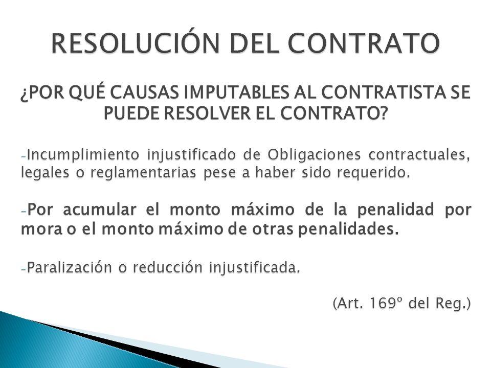 ¿POR QUÉ CAUSAS IMPUTABLES AL CONTRATISTA SE PUEDE RESOLVER EL CONTRATO? - Incumplimiento injustificado de Obligaciones contractuales, legales o regla