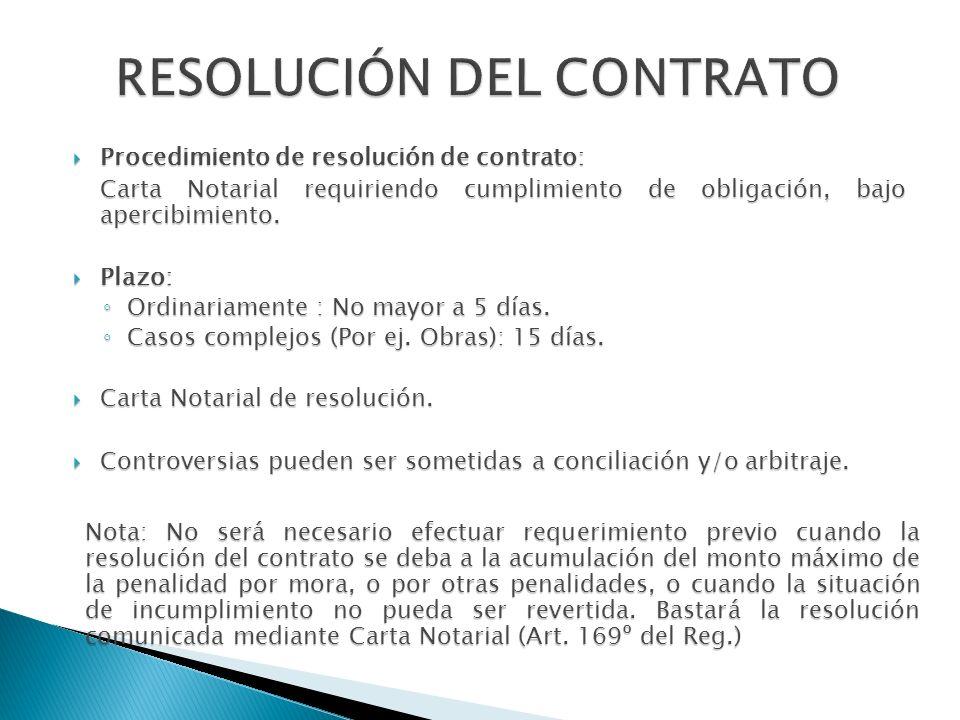 Procedimiento de resolución de contrato: Procedimiento de resolución de contrato: Carta Notarial requiriendo cumplimiento de obligación, bajo apercibi