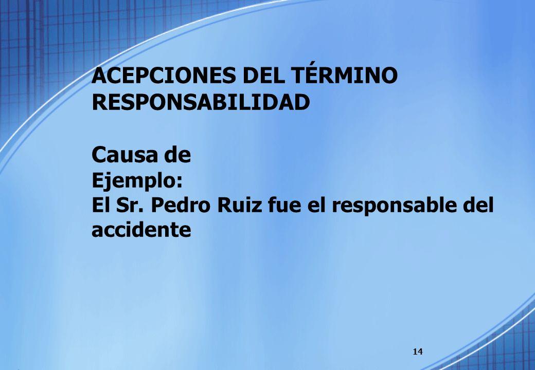 ACEPCIONES DEL TÉRMINO RESPONSABILIDAD Causa de Ejemplo: El Sr. Pedro Ruiz fue el responsable del accidente 14