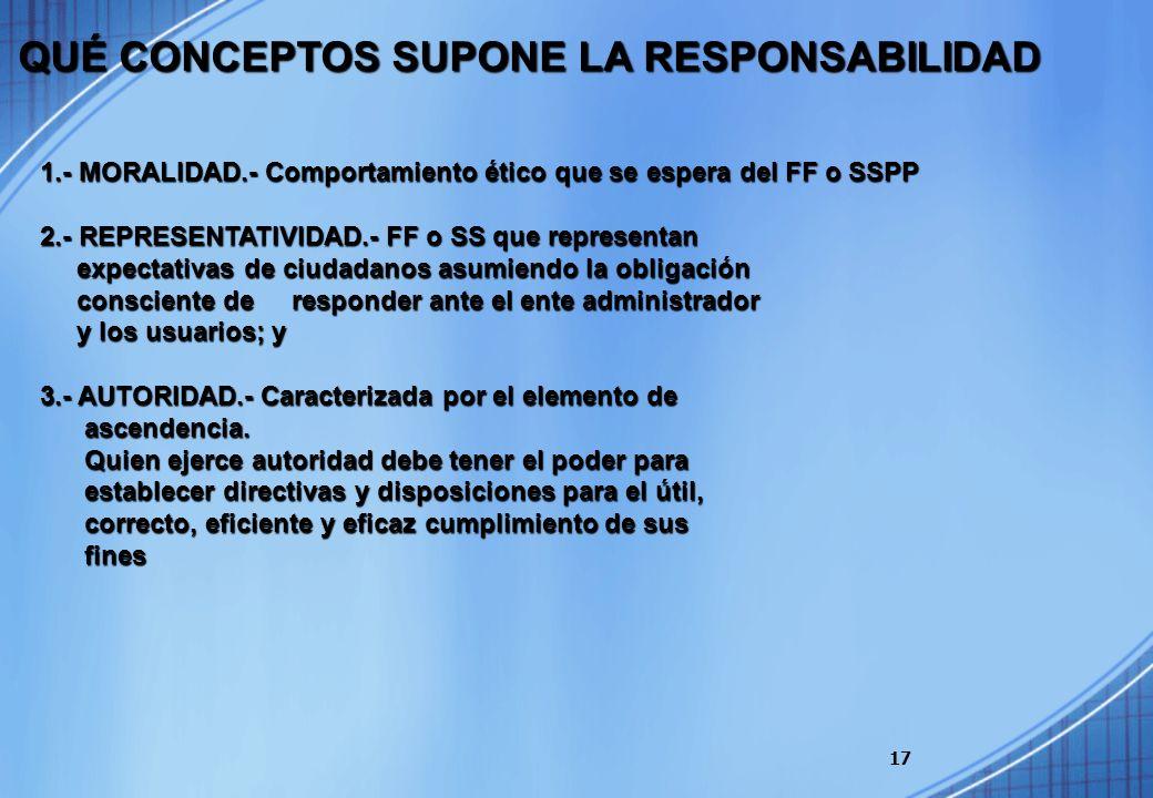17 1.- MORALIDAD.- Comportamiento ético que se espera del FF o SSPP 2.- REPRESENTATIVIDAD.- FF o SS que representan expectativas de ciudadanos asumien