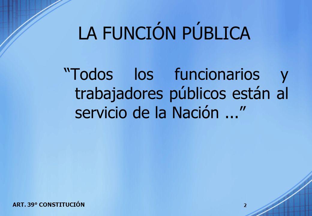 ART. 39° CONSTITUCIÓN Todos los funcionarios y trabajadores públicos están al servicio de la Nación... 2 LA FUNCIÓN PÚBLICA