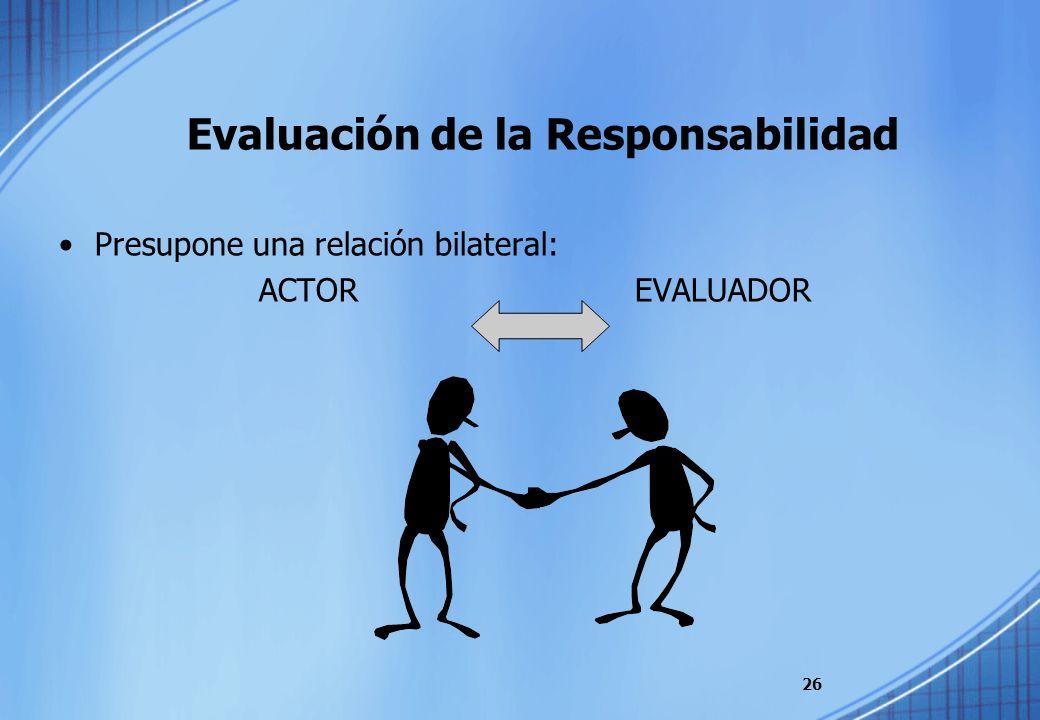 Evaluación de la Responsabilidad Presupone una relación bilateral: ACTOREVALUADOR 26