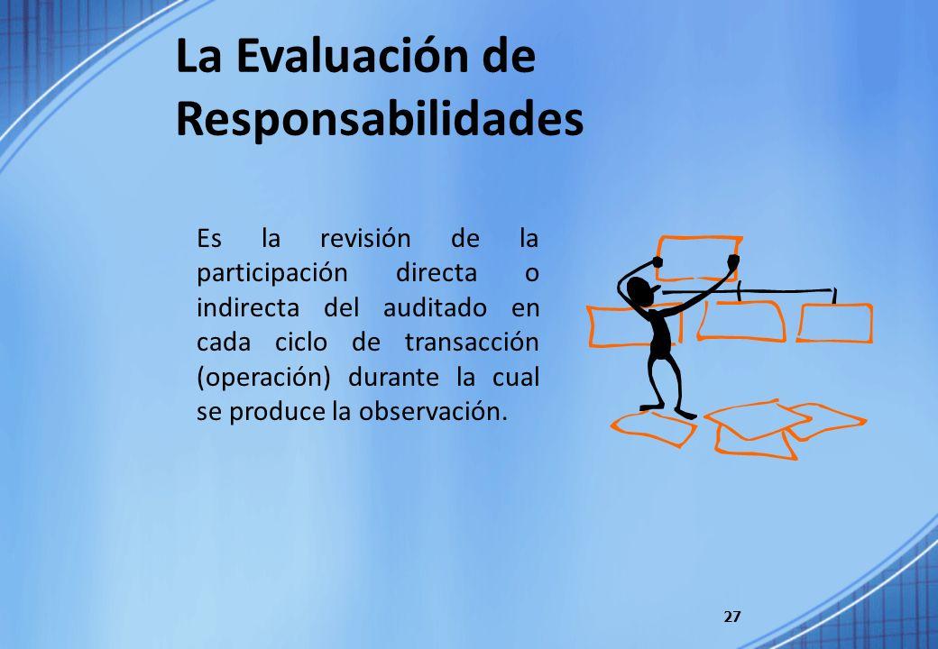 27 Es la revisión de la participación directa o indirecta del auditado en cada ciclo de transacción (operación) durante la cual se produce la observac
