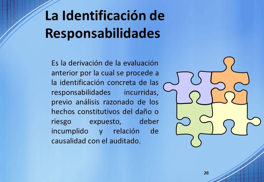 28 Es la derivación de la evaluación anterior por la cual se procede a la identificación concreta de las responsabilidades incurridas, previo análisis