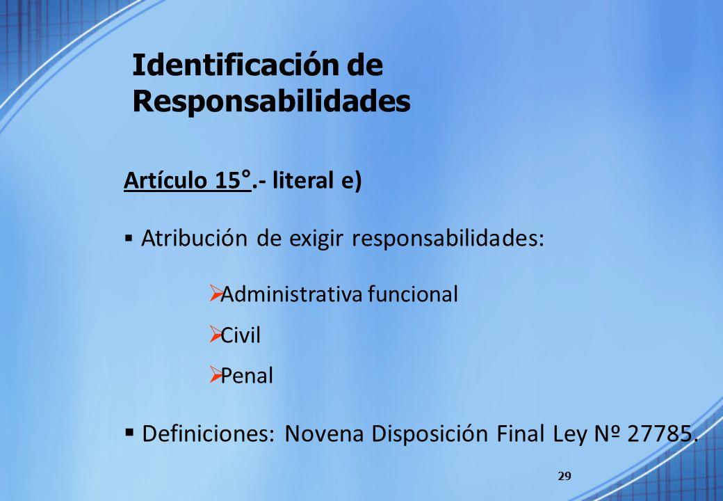Identificación de Responsabilidades 29 Artículo 15°.- literal e) Atribución de exigir responsabilidades: Administrativa funcional Civil Penal Definici