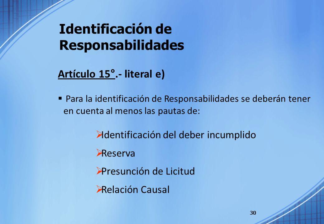 Identificación de Responsabilidades 30 Artículo 15°.- literal e) Para la identificación de Responsabilidades se deberán tener en cuenta al menos las p