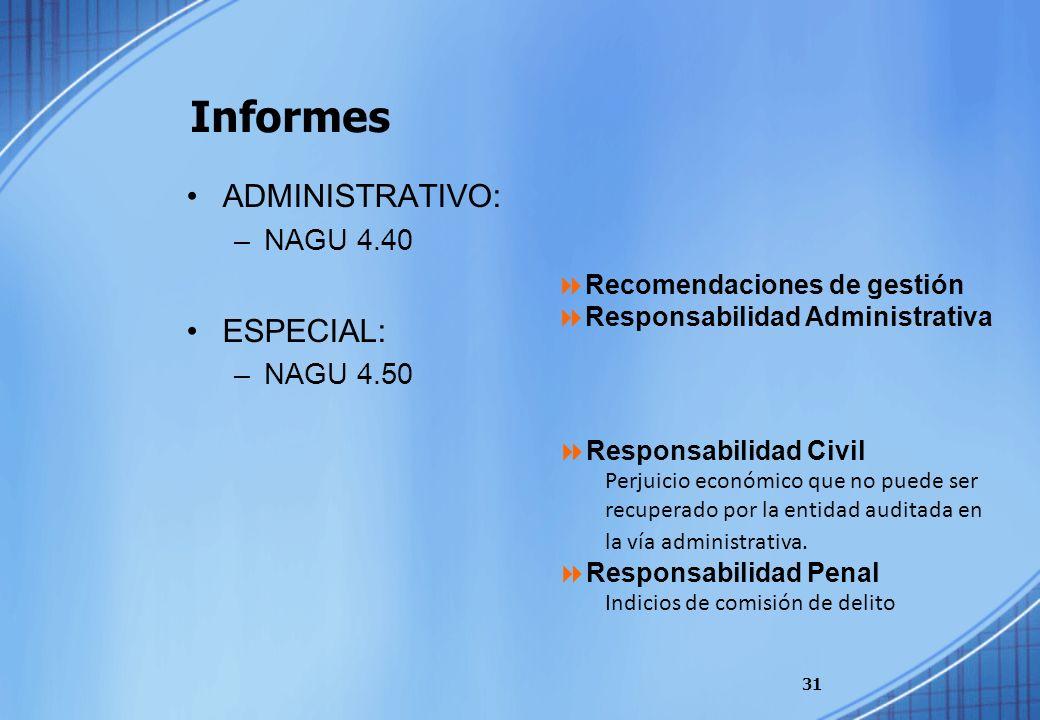 Informes ADMINISTRATIVO: –NAGU 4.40 ESPECIAL: –NAGU 4.50 31 Recomendaciones de gestión Responsabilidad Administrativa Responsabilidad Civil Perjuicio