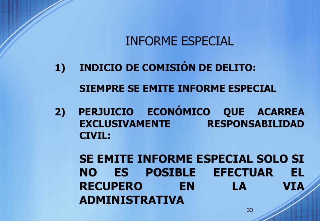 33 INFORME ESPECIAL 1)INDICIO DE COMISIÓN DE DELITO: SIEMPRE SE EMITE INFORME ESPECIAL 2) PERJUICIO ECONÓMICO QUE ACARREA EXCLUSIVAMENTE RESPONSABILID