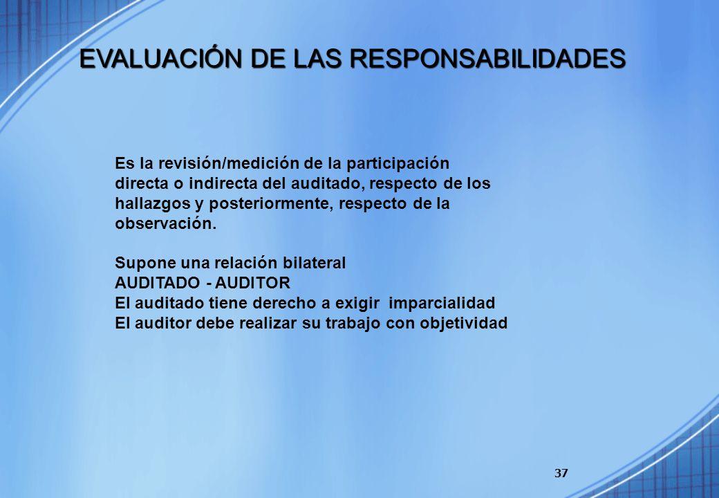 37 Es la revisión/medición de la participación directa o indirecta del auditado, respecto de los hallazgos y posteriormente, respecto de la observació