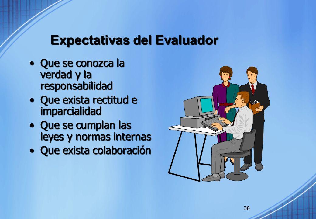 Expectativas del Evaluador Que se conozca la verdad y la responsabilidadQue se conozca la verdad y la responsabilidad Que exista rectitud e imparciali