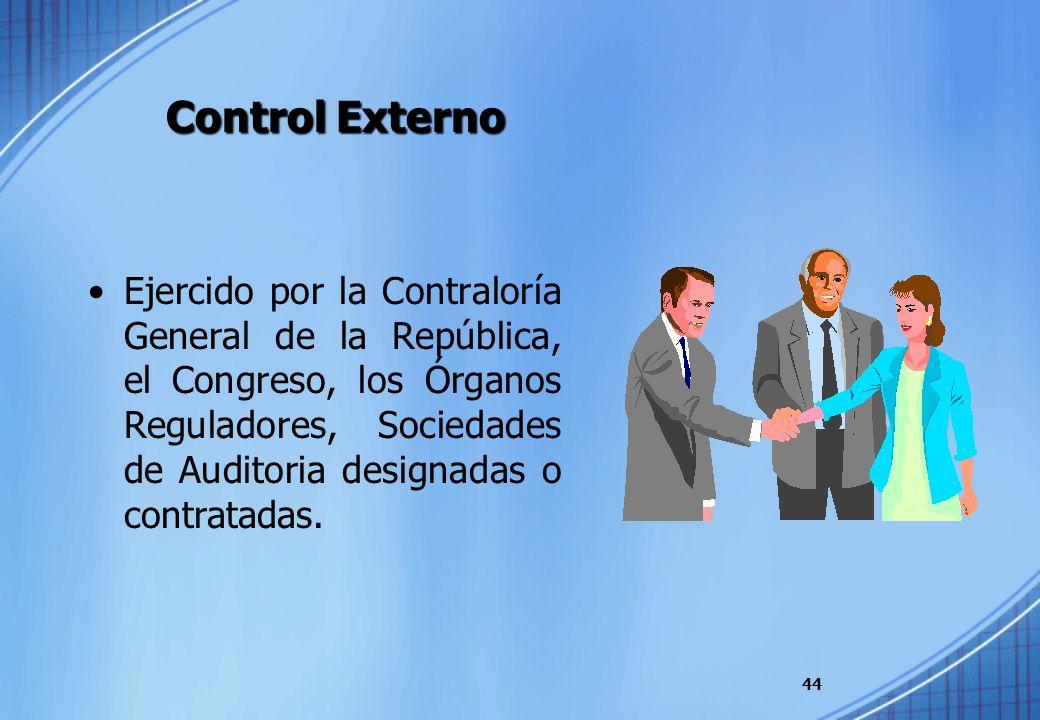 Control Externo Ejercido por la Contraloría General de la República, el Congreso, los Órganos Reguladores, Sociedades de Auditoria designadas o contra