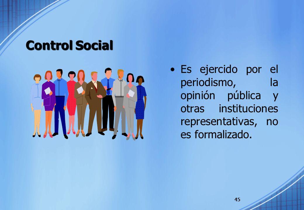 Control Social Es ejercido por el periodismo, la opinión pública y otras instituciones representativas, no es formalizado. 45