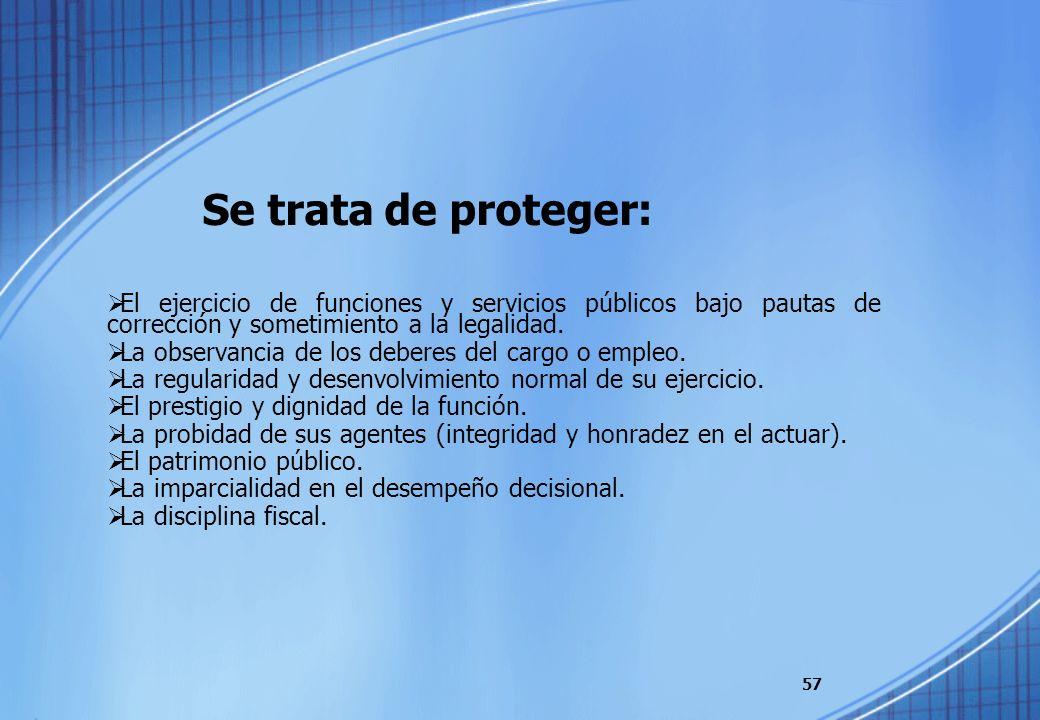 Se trata de proteger: El ejercicio de funciones y servicios públicos bajo pautas de corrección y sometimiento a la legalidad. La observancia de los de