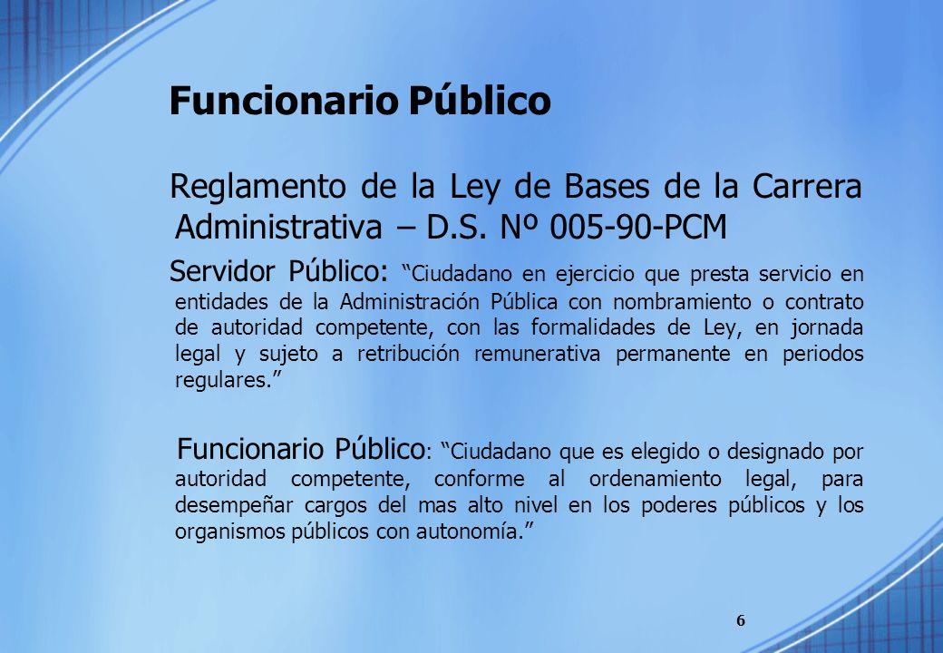Funcionario Público Reglamento de la Ley de Bases de la Carrera Administrativa – D.S. Nº 005-90-PCM Servidor Público: Ciudadano en ejercicio que prest