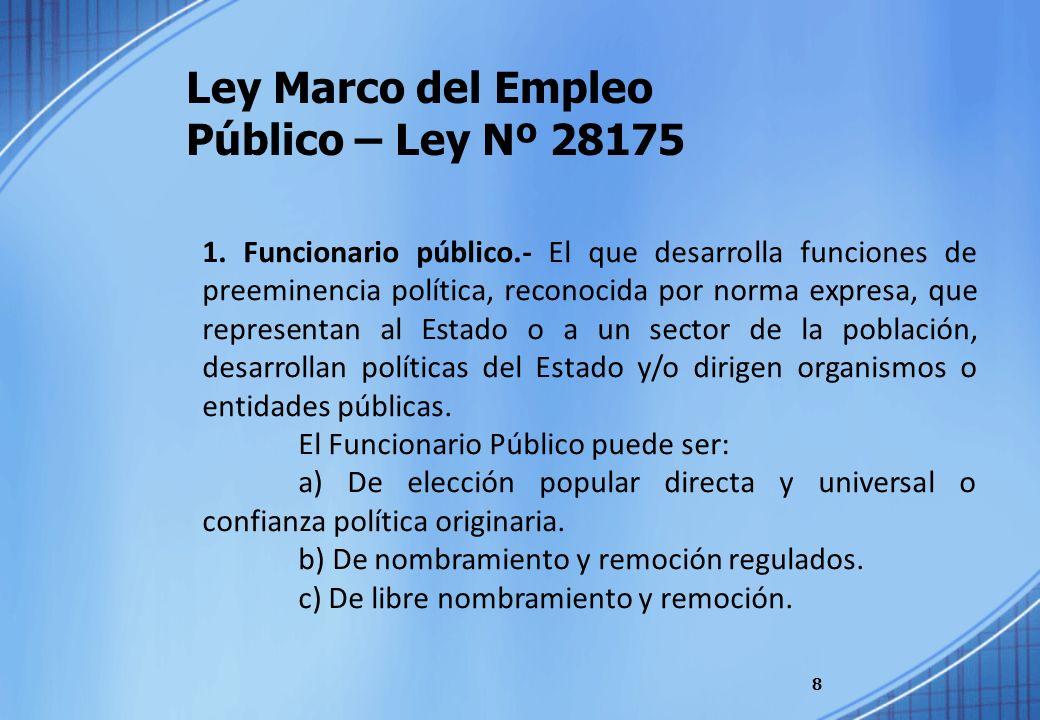 Ley Marco del Empleo Público – Ley Nº 28175 8 1. Funcionario público.- El que desarrolla funciones de preeminencia política, reconocida por norma expr