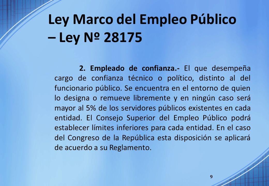 9 Ley Marco del Empleo Público – Ley Nº 28175 2. Empleado de confianza.- El que desempeña cargo de confianza técnico o político, distinto al del funci