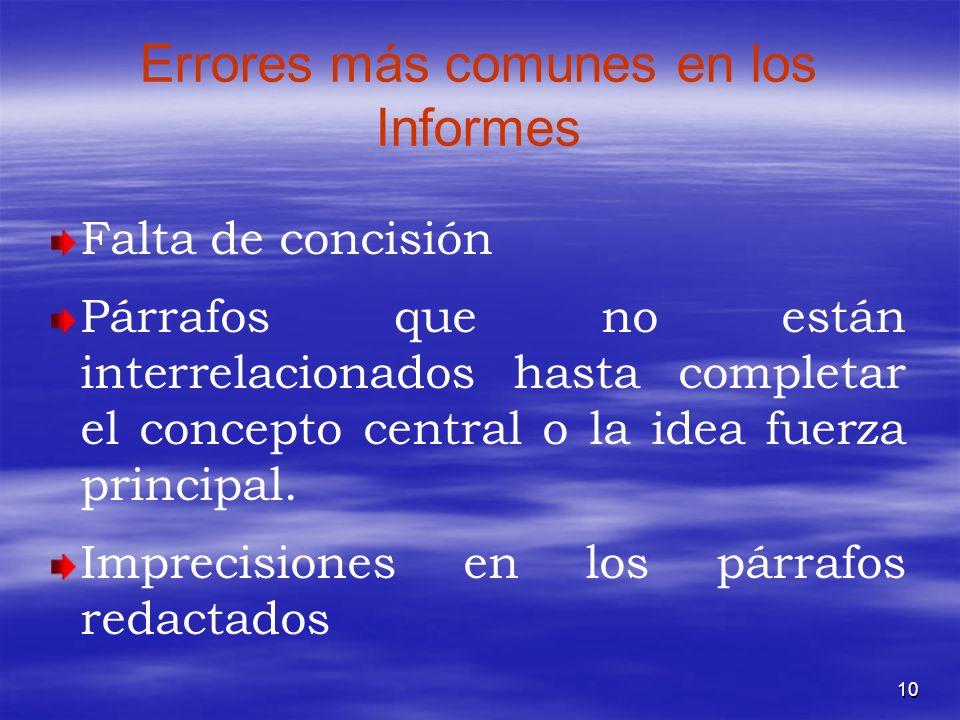 10 Errores más comunes en los Informes Falta de concisión Párrafos que no están interrelacionados hasta completar el concepto central o la idea fuerza