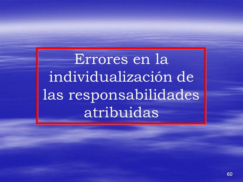 60 Errores en la individualización de las responsabilidades atribuidas