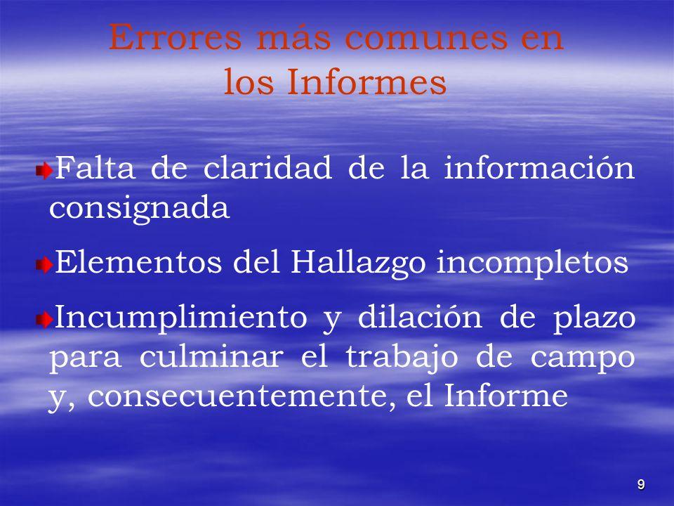 9 Errores más comunes en los Informes Falta de claridad de la información consignada Elementos del Hallazgo incompletos Incumplimiento y dilación de p