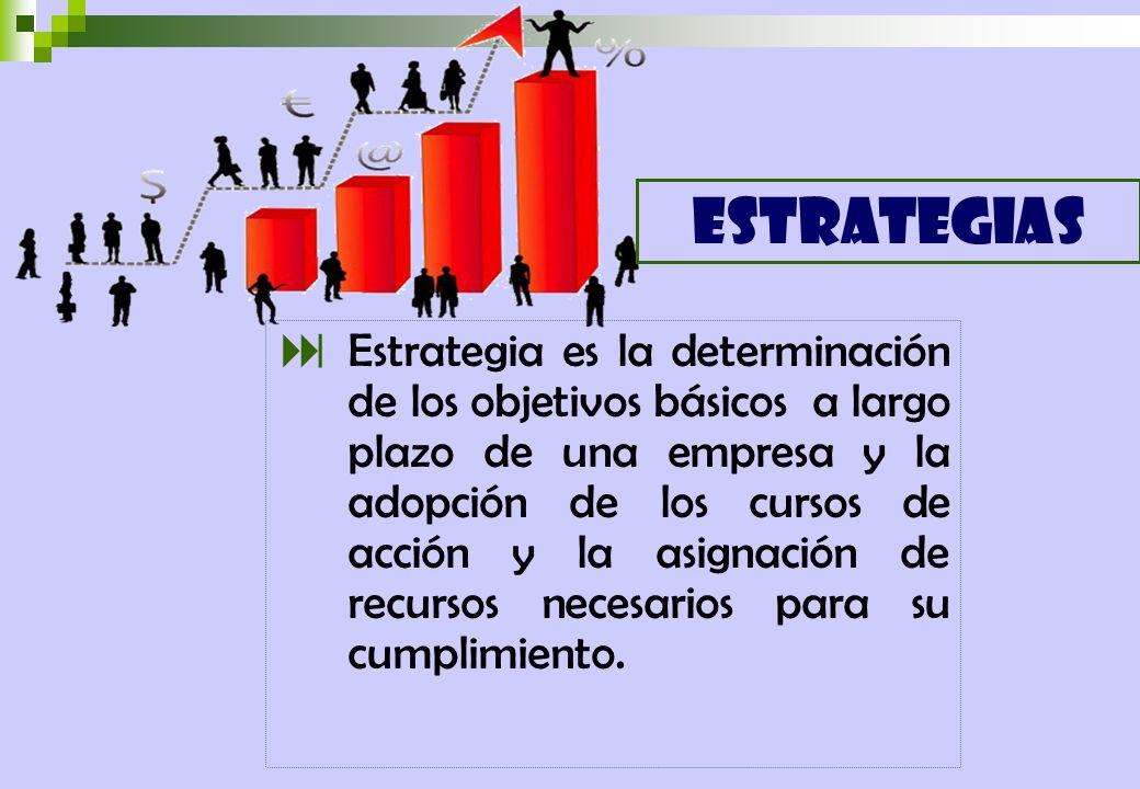 Estrategia es la determinación de los objetivos básicos a largo plazo de una empresa y la adopción de los cursos de acción y la asignación de recursos