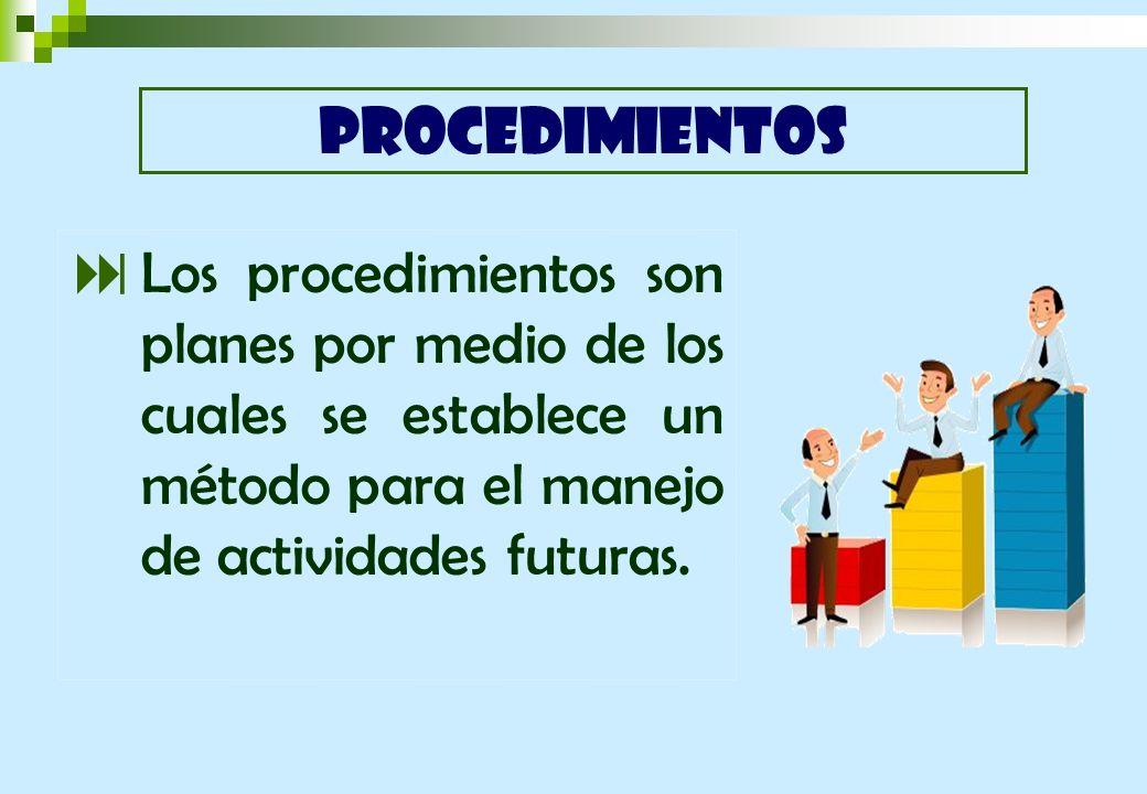 Los procedimientos son planes por medio de los cuales se establece un método para el manejo de actividades futuras. PROCEDIMIENTOS