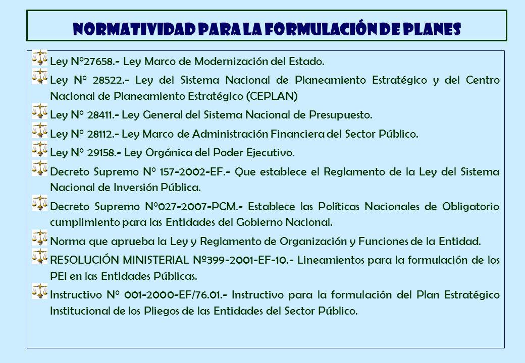 Ley N°27658.- Ley Marco de Modernización del Estado. Ley N° 28522.- Ley del Sistema Nacional de Planeamiento Estratégico y del Centro Nacional de Plan