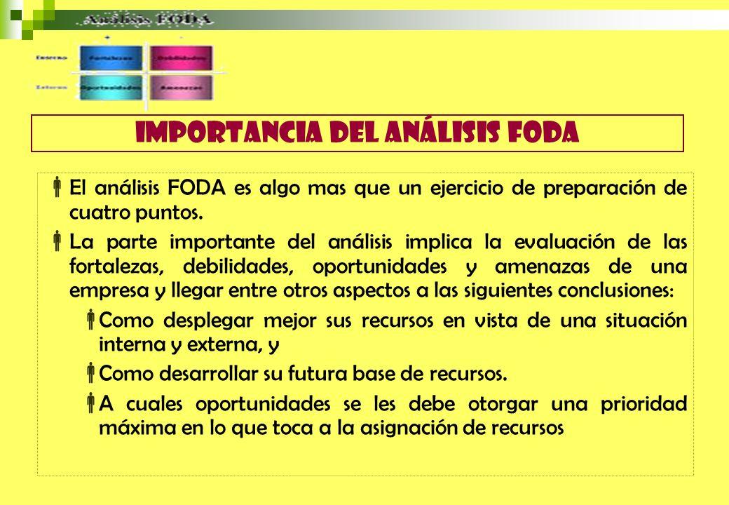 El análisis FODA es algo mas que un ejercicio de preparación de cuatro puntos. La parte importante del análisis implica la evaluación de las fortaleza