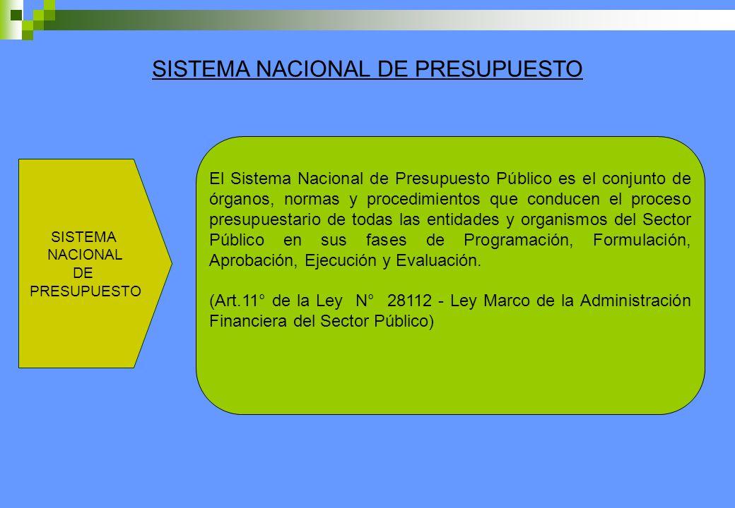 SISTEMA NACIONAL DE PRESUPUESTO SISTEMA NACIONAL DE PRESUPUESTO El Sistema Nacional de Presupuesto Público es el conjunto de órganos, normas y procedi