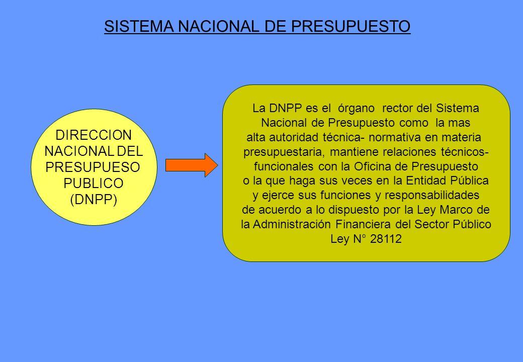 DIRECCION NACIONAL DEL PRESUPUESO PUBLICO (DNPP) La DNPP es el órgano rector del Sistema Nacional de Presupuesto como la mas alta autoridad técnica- n