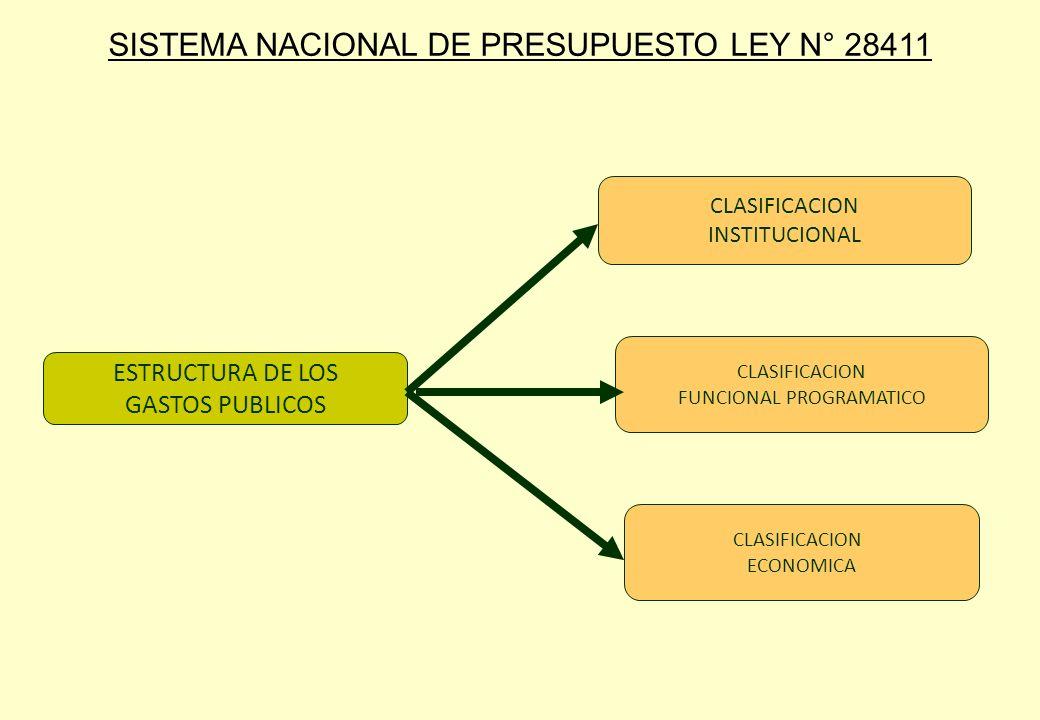 ESTRUCTURA DE LOS GASTOS PUBLICOS CLASIFICACION INSTITUCIONAL CLASIFICACION FUNCIONAL PROGRAMATICO CLASIFICACION ECONOMICA SISTEMA NACIONAL DE PRESUPU