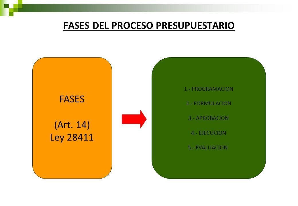 FASES DEL PROCESO PRESUPUESTARIO FASES (Art. 14) Ley 28411 1.- PROGRAMACION 2.- FORMULACION 3.- APROBACION 4.- EJECUCION 5.- EVALUACION