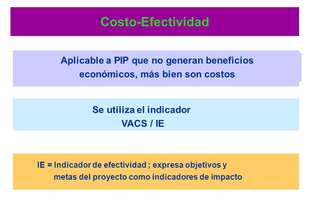 Costo-Beneficio Se utilizan los indicadores VAN, TIR y B/C Regla de decisión: VAN > 0; TIR > TD; B/C > 1.0 Aplicable a PIP que generan beneficios econ