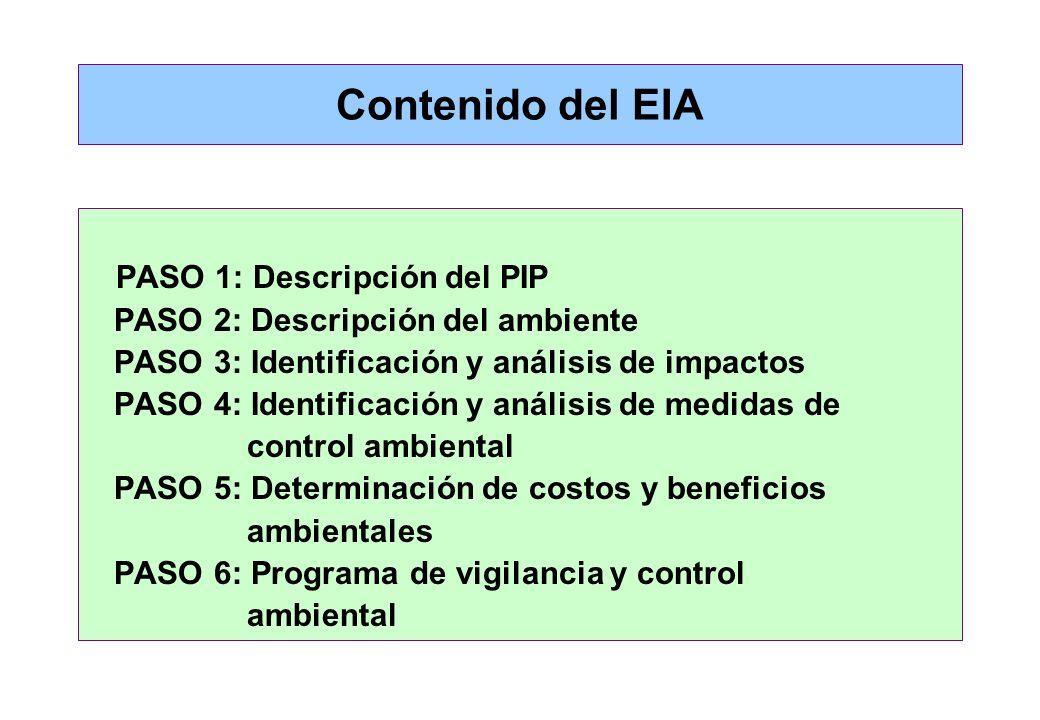 Contenido del EIA Según el SNIP: Identificar los impactos (+) y (-) del PIP y el planteamiento de medidas de mitigación. Los costos de las medidas de
