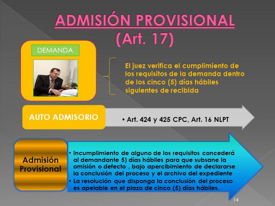DEMANDA El juez verifica el cumplimiento de los requisitos de la demanda dentro de los cinco (5) días hábiles siguientes de recibida Art. 424 y 425 CP