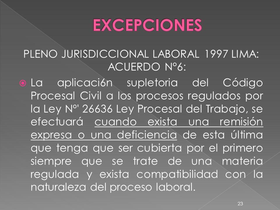 PLENO JURISDICCIONAL LABORAL 1997 LIMA: ACUERDO N°6: La aplicaci6n supletoria del Código Procesal Civil a los procesos regulados por la Ley Nº' 26636