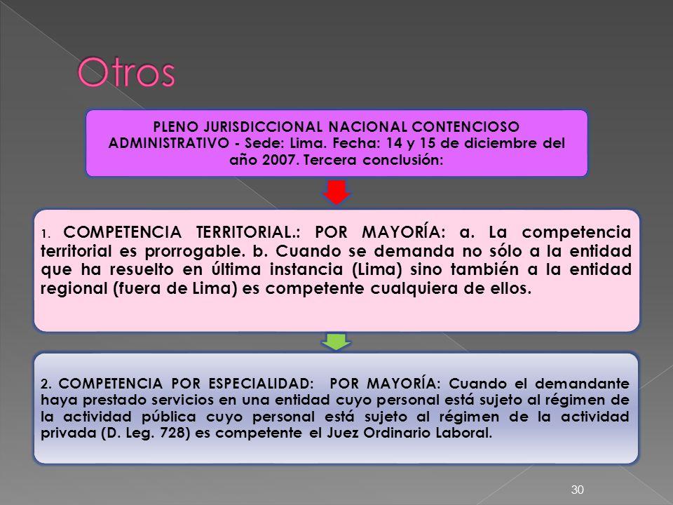PLENO JURISDICCIONAL NACIONAL CONTENCIOSO ADMINISTRATIVO - Sede: Lima. Fecha: 14 y 15 de diciembre del año 2007. Tercera conclusión: 1. COMPETENCIA TE