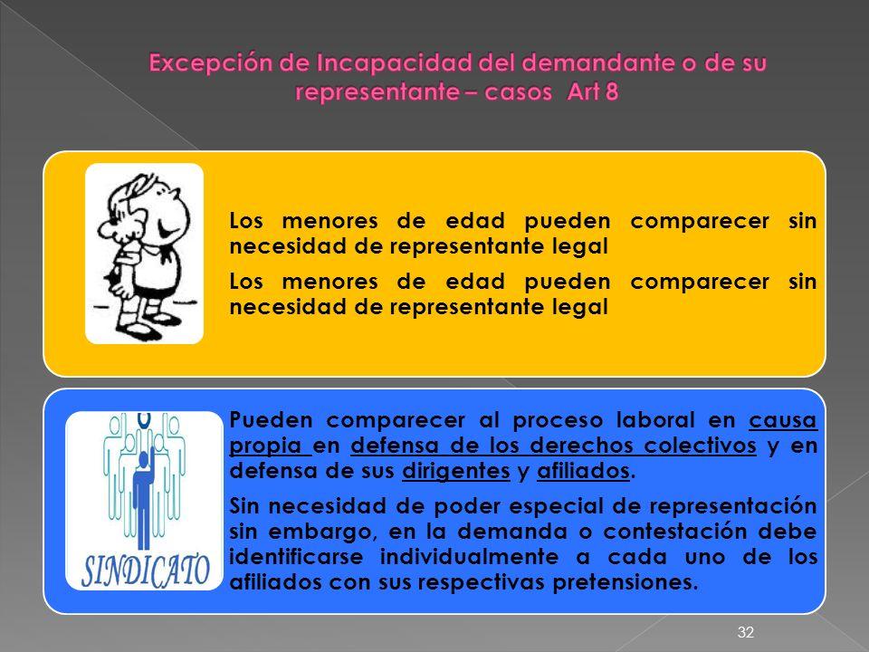 Los menores de edad pueden comparecer sin necesidad de representante legal Pueden comparecer al proceso laboral en causa propia en defensa de los dere